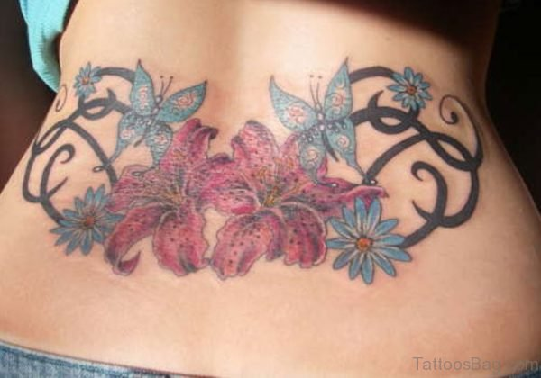 Lower Back Flower Tribal Tattoo