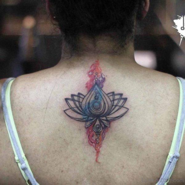 Lower Nape Lotus Tattoo