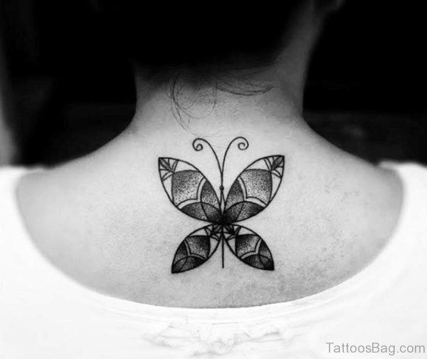 Lower Nape Tattoo Butterfly