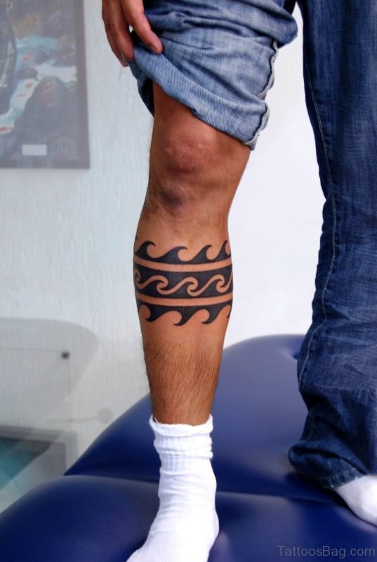Magnificent Band Tattoo On Leg