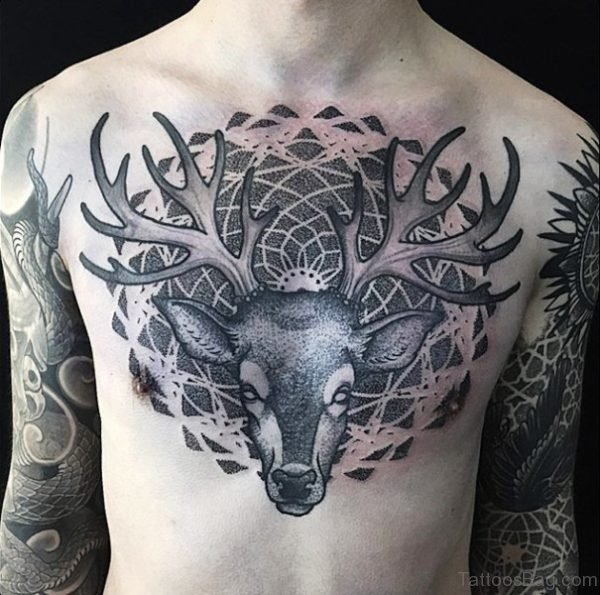 Magnificent Buck Tattoo On Chest