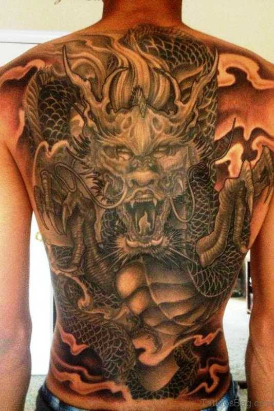 Magnificent Dragon Tattoo On Back
