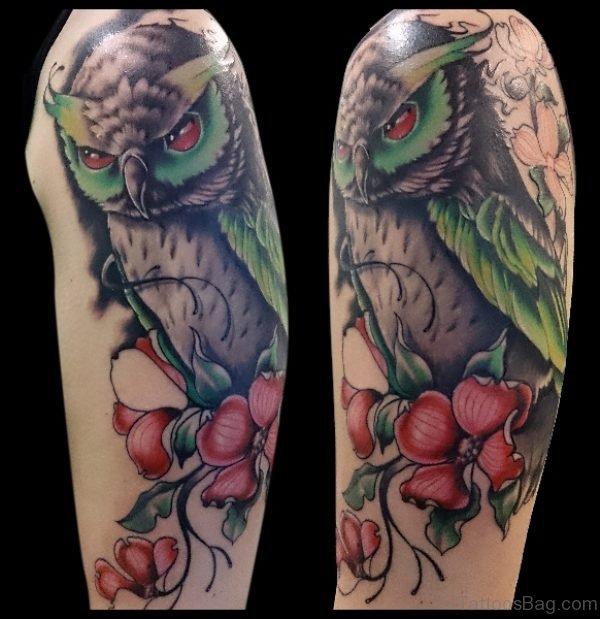 Magnifying Owl Tattoo On Shoulder