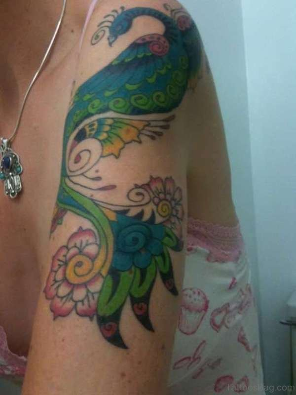 Magnifying Peacock Tattoo On Shoulder