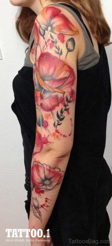 Magnolia Branch Tattoo On Full Sleeve