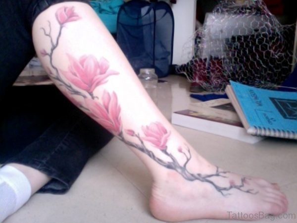Magnolia Flower Tattoo On Leg