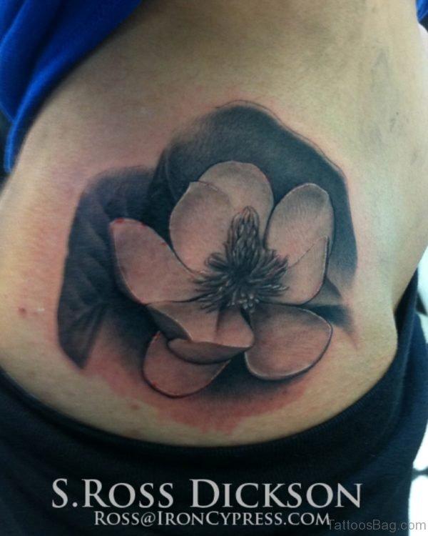 Magnolia Flower Tattoo On Waist