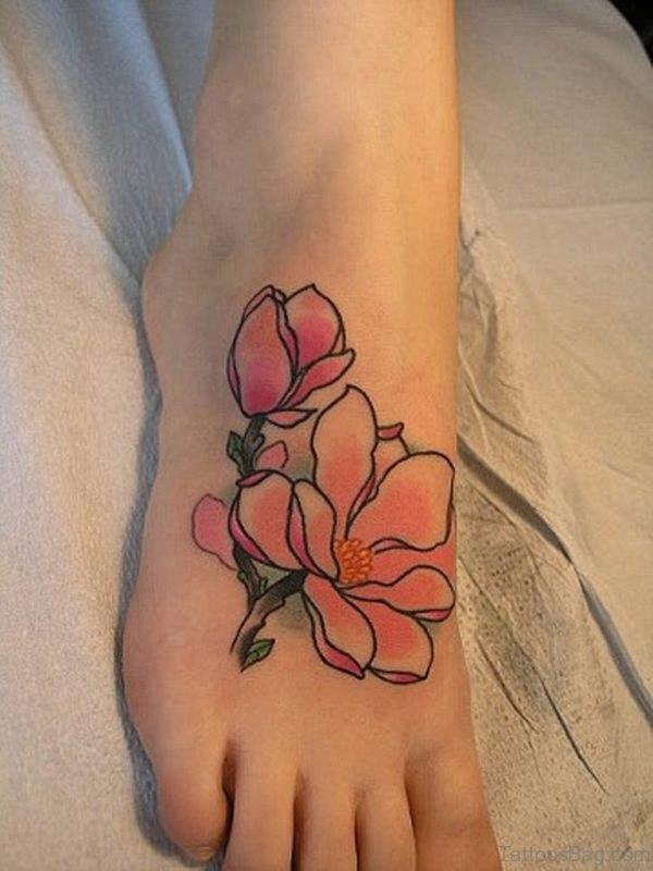 Magnolia Flowers Tattoo On Foot