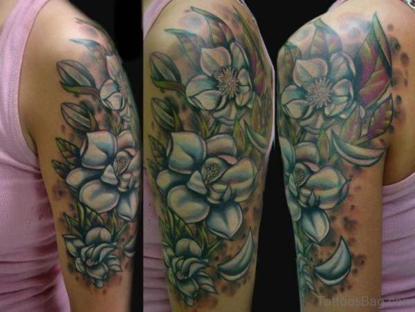 Magnolia Tattoo Design On Half Sleeve
