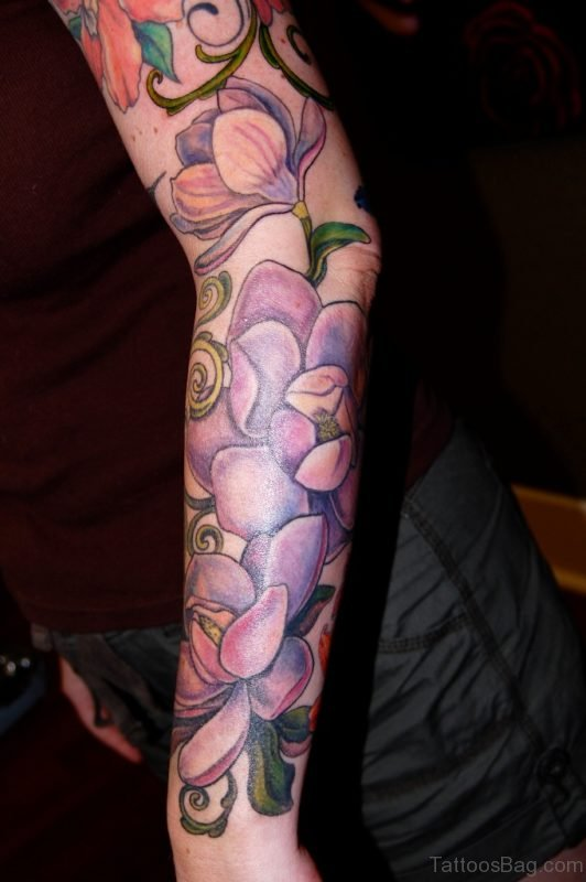 Magnolia Tattoo On Full Sleeve