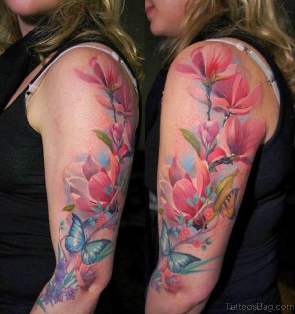 Magnolia Tattoo On Half Sleeve