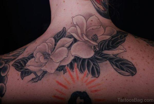 Magnolia Tattoo On Nape