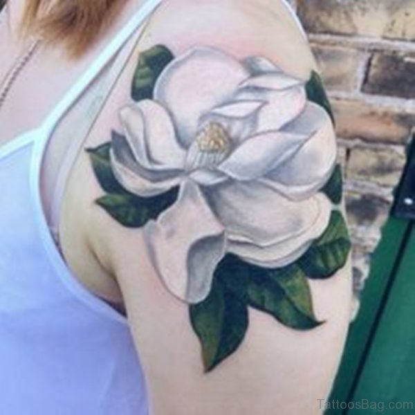 Magnolia Tattoo On Shoulder