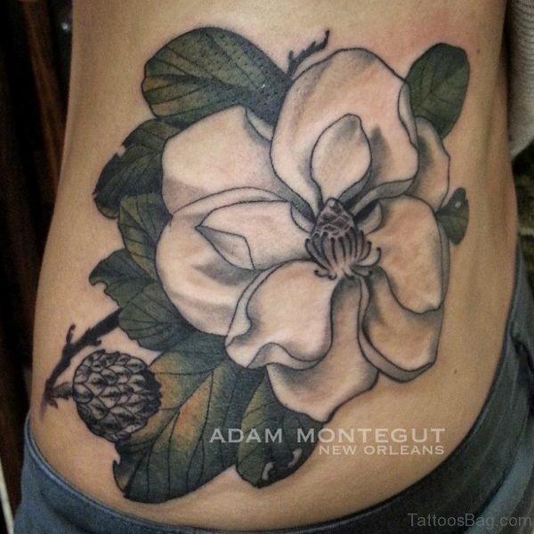 Magnolia Tattoo On Waist