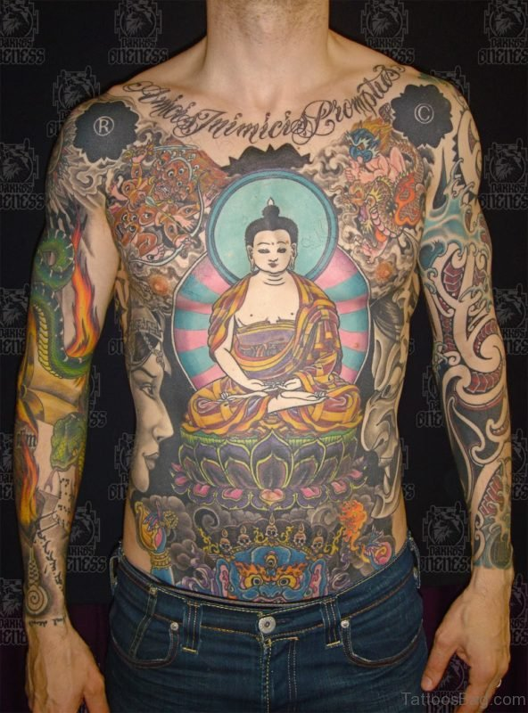 Mahatma Buddha Tattoo On Chest
