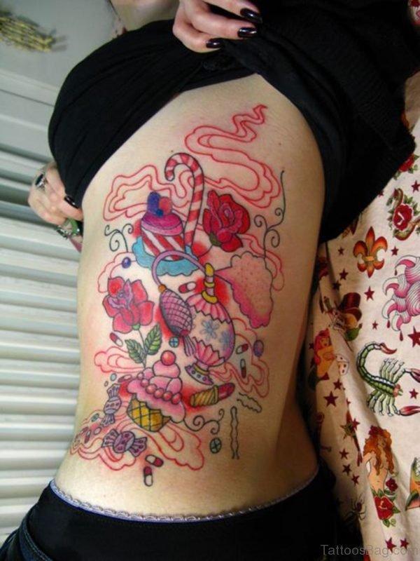 Makeup Tattoo Design On Rib