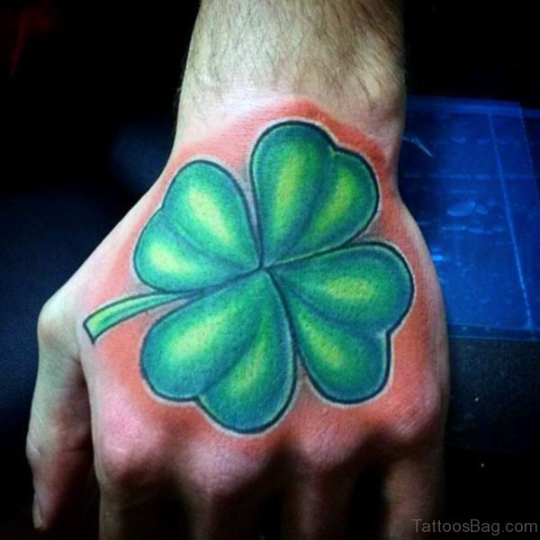 Male Four Leaf Clover Tattoo Design On Hand