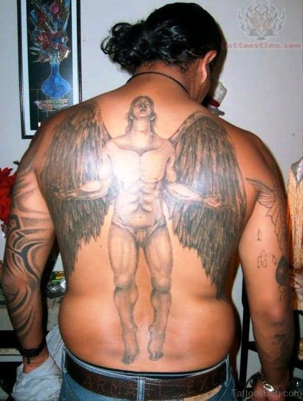 Man Angel Tattoo On Back