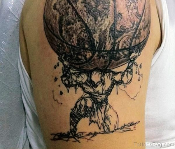 Man Carrying Big Basketball Tattoo Design
