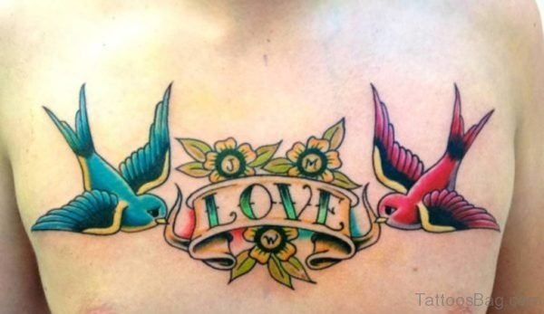 Man Showing Her Dove Tattoo On Chest