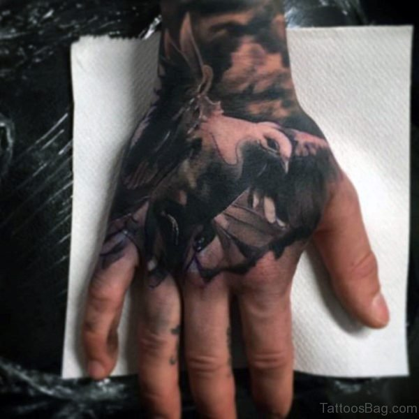 Man With Cool Leaden Eagle Tattoo On Hands