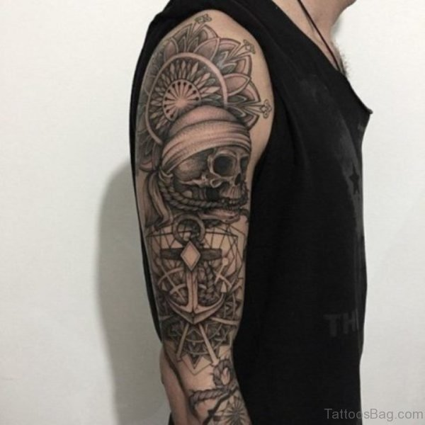 Mandala And Skull Tattoo On Full Sleeve