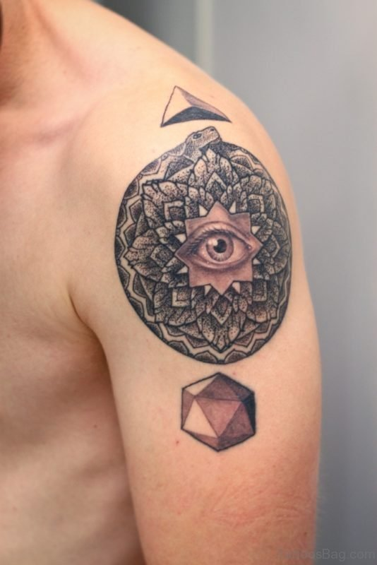 Mandala Eye Tattoo on Shoulder