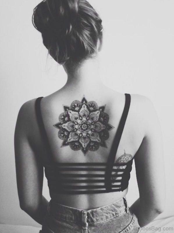 Mandala Flower Tattoo On Girl Upper Back