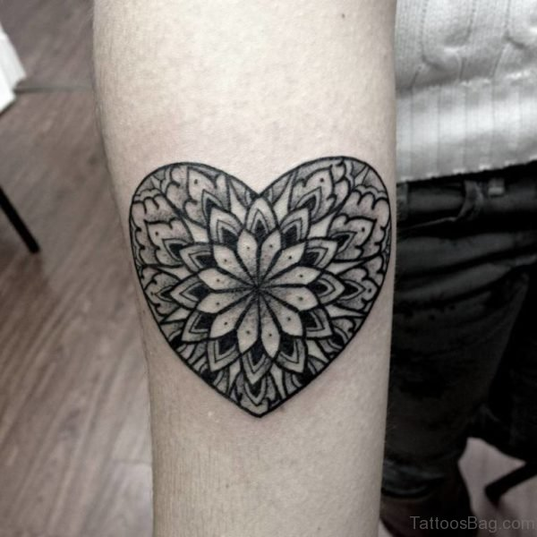 Mandala Heart Tattoo On Arm