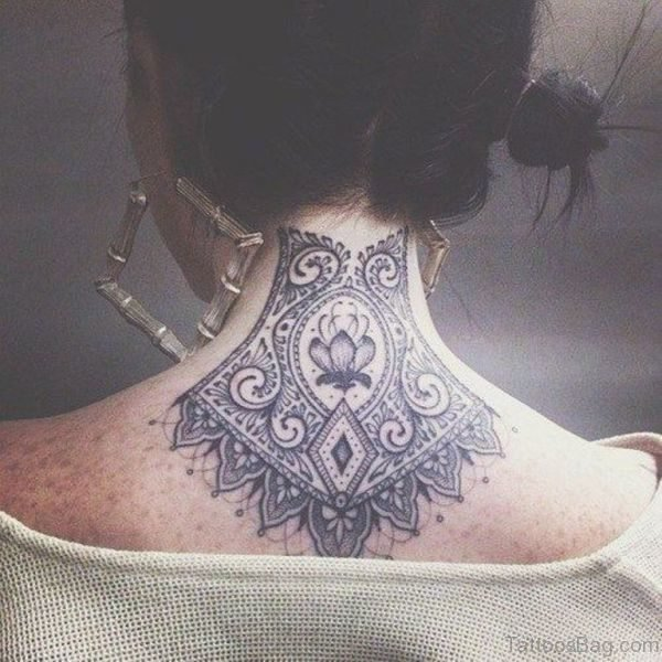Mandala Lotus Tattoo On Back Neck