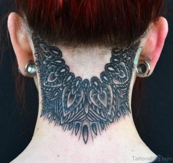 Mandala Tattoo On Neck Back