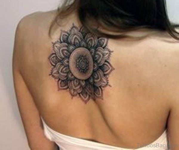 Mandala Tattoo On Upper Back