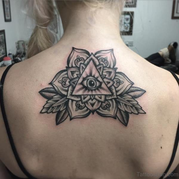 Mandala With Eye Tattoo On Neck Back