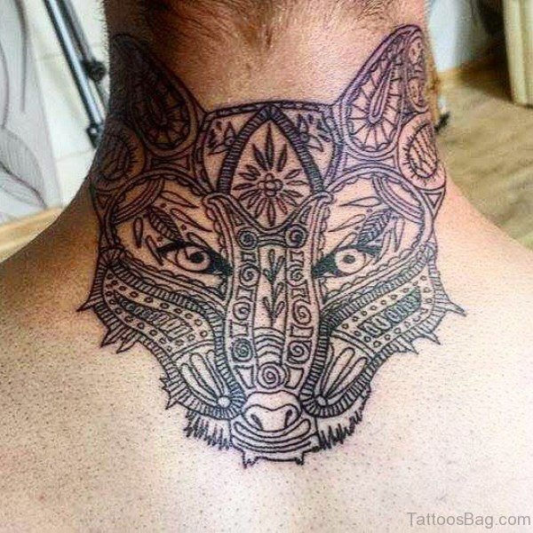 Mandala Wolf Face Tattoo On Neck