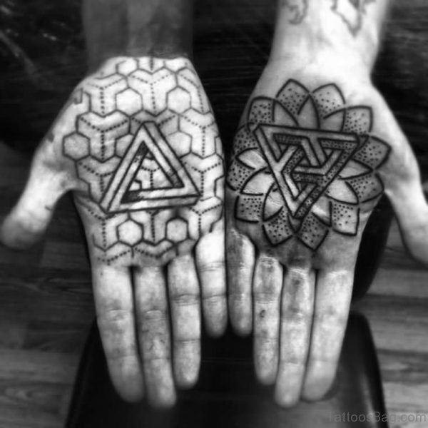 Mandla Flowers and Triangle Tattoos On Hands