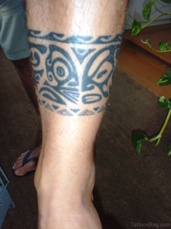 Maori Leg Band Tattoo On Leg