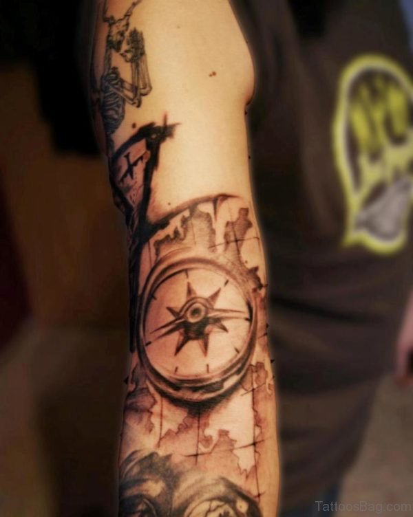 Map And Compass Tattoo On Full Sleeve