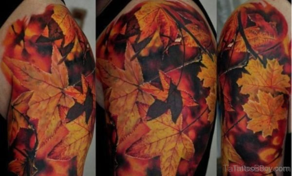 Maple Leaf Tattoo On Shoulder