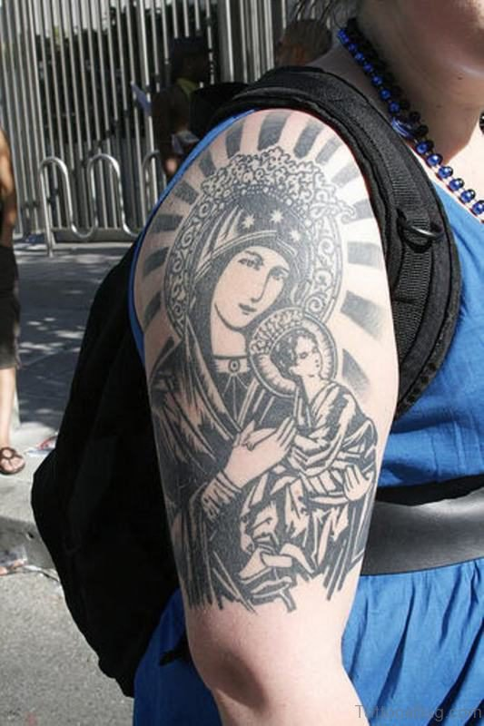 Marry Religion Tattoo On Shoulder