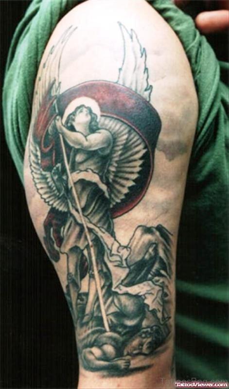 Marvelous Archangel Tattoo On Shoulder