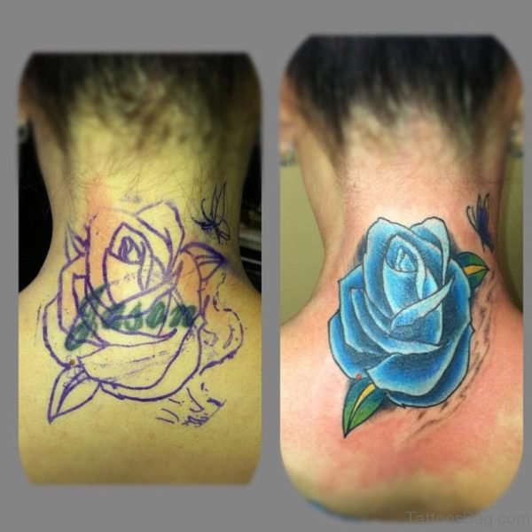 Marvelous Blue Rose Tattoo On Neck