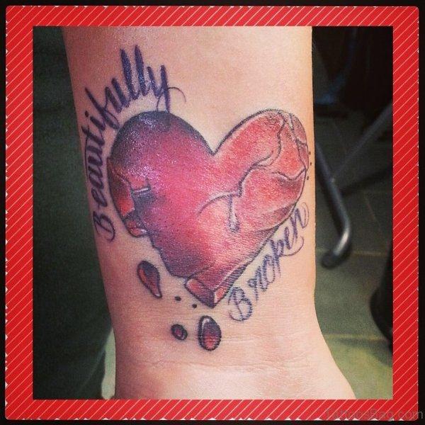 Marvelous Broken Heart Tattoo On Wrist