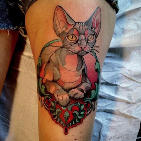 Marvelous Cat Tattoo on Thigh
