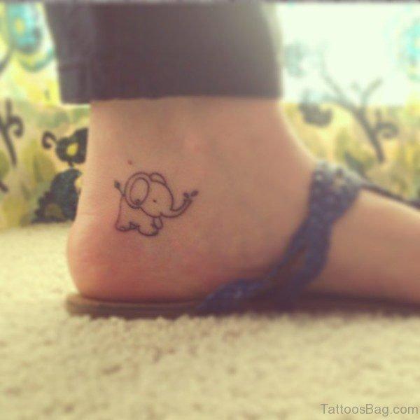 Marvelous Elpehant Tattoo On Ankle