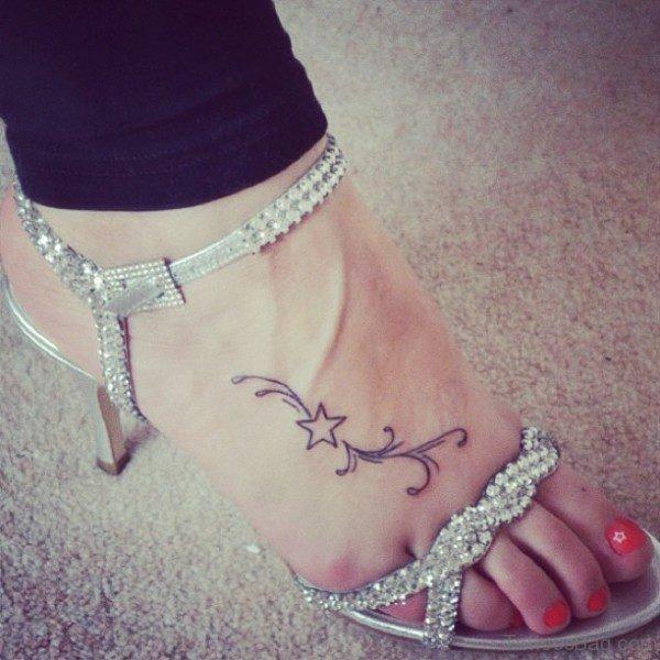 Marvelous Star Tattoo On Foot