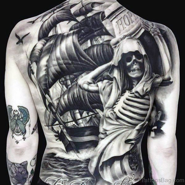 Masculine Skeleton Tattoo On Back