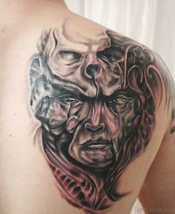 Mask And Skull Tattoo