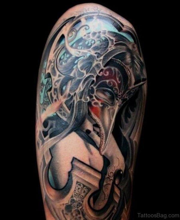 Masked Girl Tattoo On Shoulder