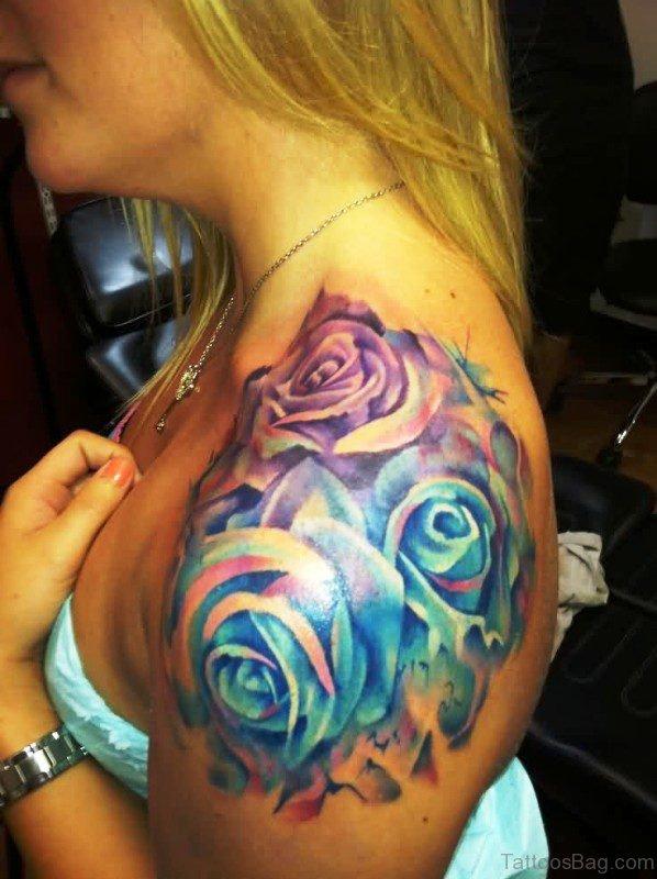 Massive Multicolored Roses Tattoo