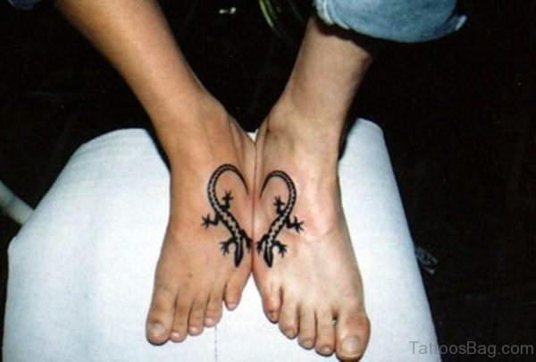 Matching Heart Tattoo On Foot